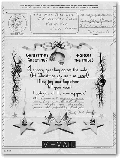 Basilone Christmas Card From Dog Company Friends