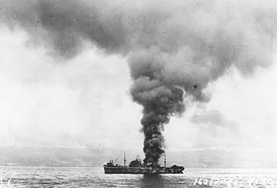 The George F. Elliott burning.