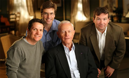 James Moll, Bruce McKenna, Dr. Sidney Phillips and myself during the filming of an interview with Sid on a sound stage somewhere in LA. This key part of the early research for the film was in the capable hands of James Moll, an Academy Award® Winning and Emmy® Winning director.
