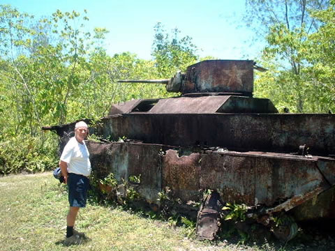 My dad, the late historian Stephen Ambrose, stands next to an LVT on the island of Peleliu in 2000