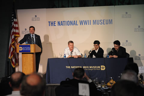 Actors Michael Cudlitz and Ron Livingston, and screen writer John Orloff headlined a conference on WWII