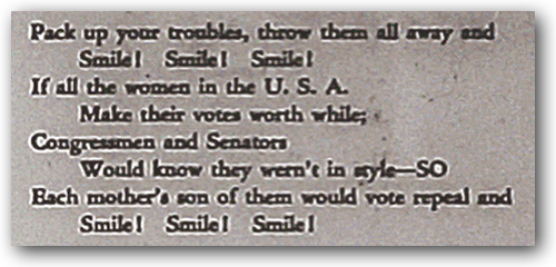 A verse from a song for the Prohibition Repeal