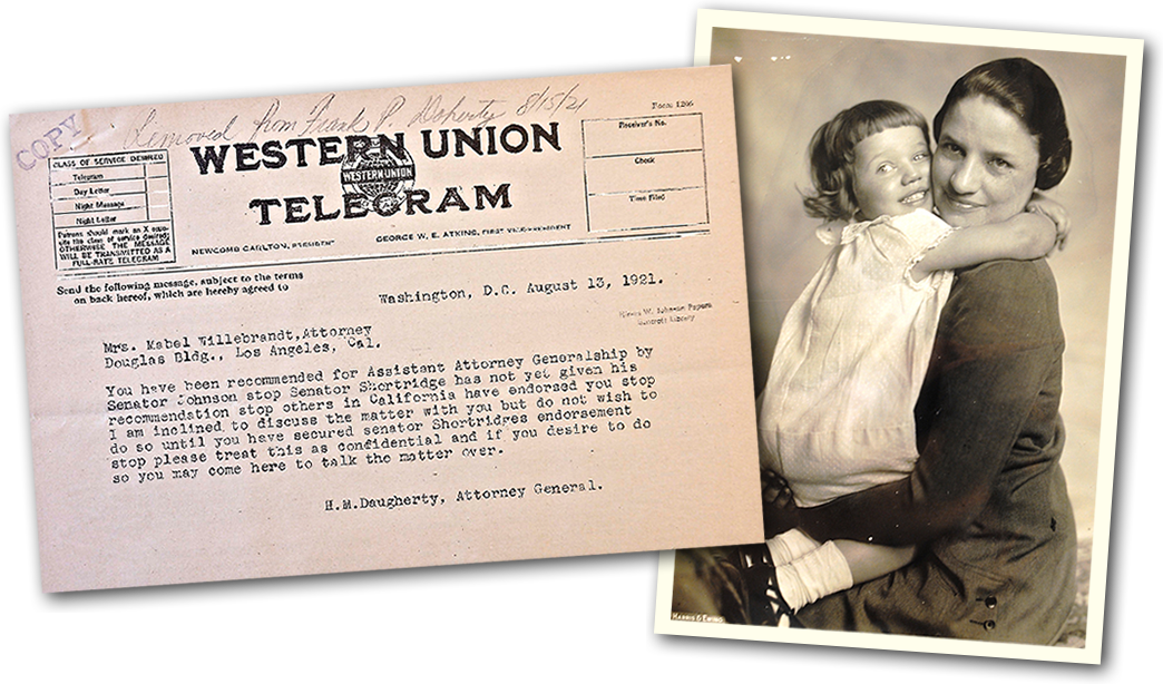 Mabel Willebrandt telegram and photo.
